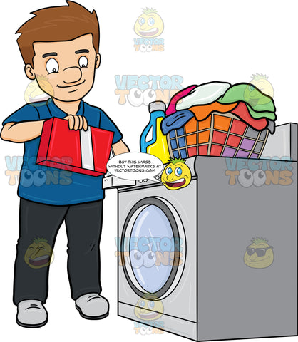 A Man Adding A Good Measure Of Detergent Powder To His Laundry Washer