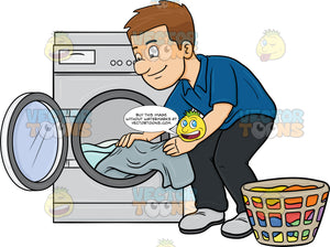 A Man Taking Out His Washed Linens From The Washer