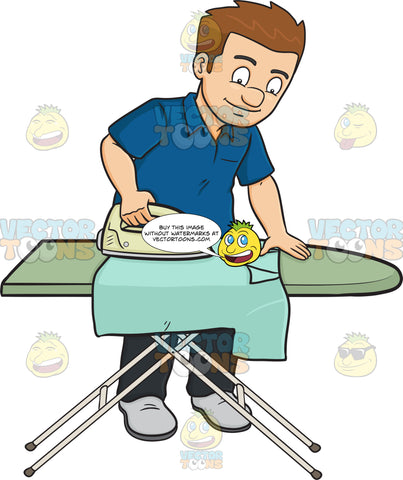 A Man Ironing A Shirt