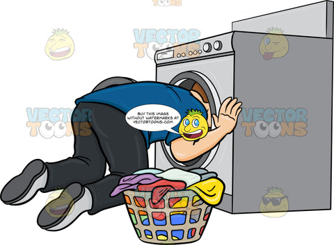 A Man Searching For A Missing Object Inside The Washing Machine