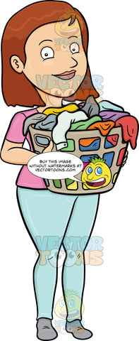 A Smiling Woman Carrying A Plastic Laundry Hamper Full Of Clothes
