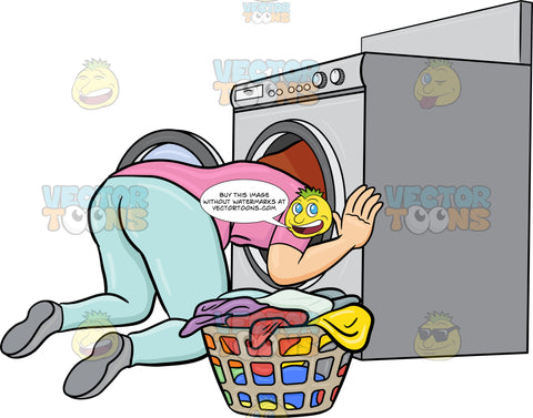 A Woman Searching For A Missing Object Inside The Washing Machine