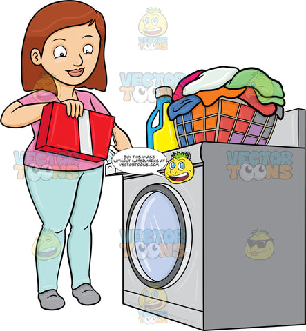 A Woman Adding A Good Measure Of Detergent Powder To Her Laundry Washer