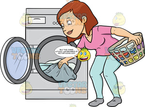 A Woman Taking Out Her Washed Linens From The Washer