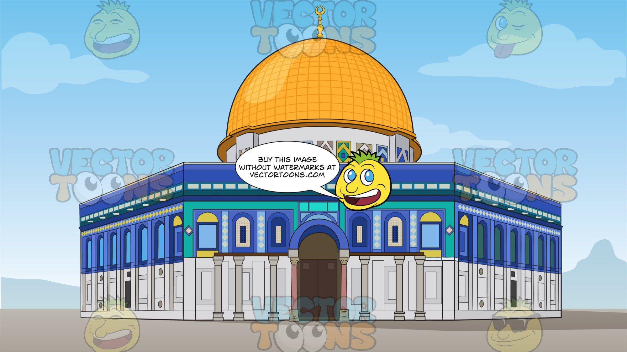 Dome of the Rock Background. A front view of the Dome of The Rock, an octagonal shaped Islamic shrine with mosaics and gold plated roof, located on the Temple Mount in the Old City of Jerusalem