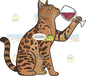 A cat drinking wine