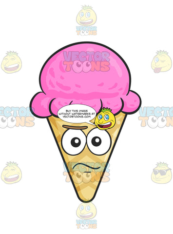 Doubting And Curious Ice Cream On Cone