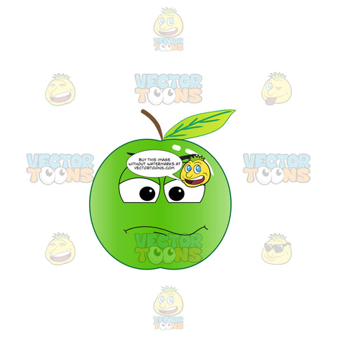 Doubting Look On Green Apple Emoji
