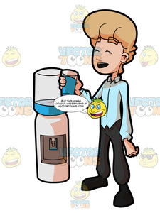 A Man Having A Good Time While Drinking A Cold Glass Of Water From The Dispenser
