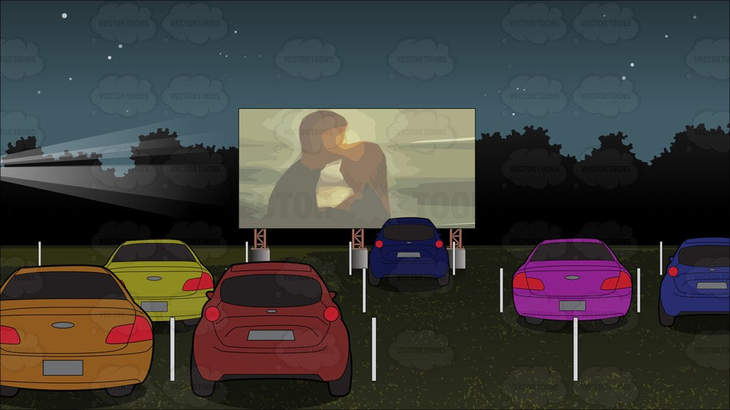 Drive In Movie Theater Background Clipart Cartoons By Vectortoons