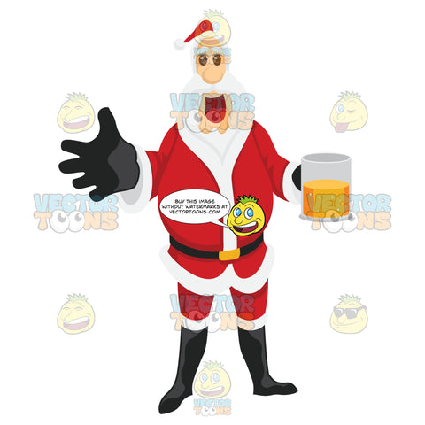Santa Claus Holding A Mug Of Beer