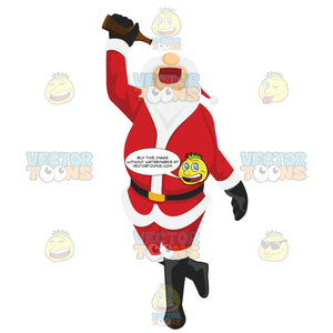 Santa Claus Is Walking While Holding A Bottle Of Beer Above His Mouth Trying To Get The Last Drop Out