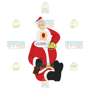 Santa Claus Sitting Down And Sleeping While One Hand Is Behind His Head And The Other Holds A Beer