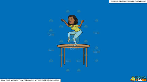 Cartoon clipart: drunk woman dancing on top of the table on a solid spanish blue 016fb9 background
