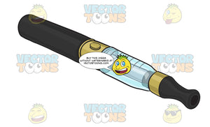 Black E-Cigarette With A Gold And Clear Blue Tank