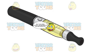 Black E-Cigarette With A Silver And Clear Yellow Tank