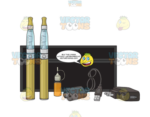 Yellow E-Cigarette Starter Kit With Black Case Refills And Chargers