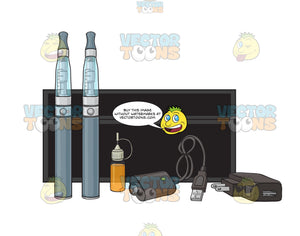 Blue Or Grey E-Cigarette Starter Kit With Black Case Refills And Chargers