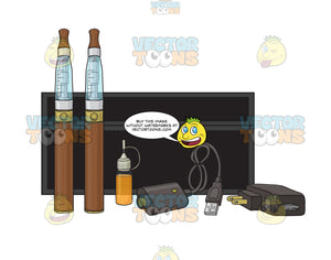 Brown E-Cigarette Starter Kit With Black Case Chargers And Refills