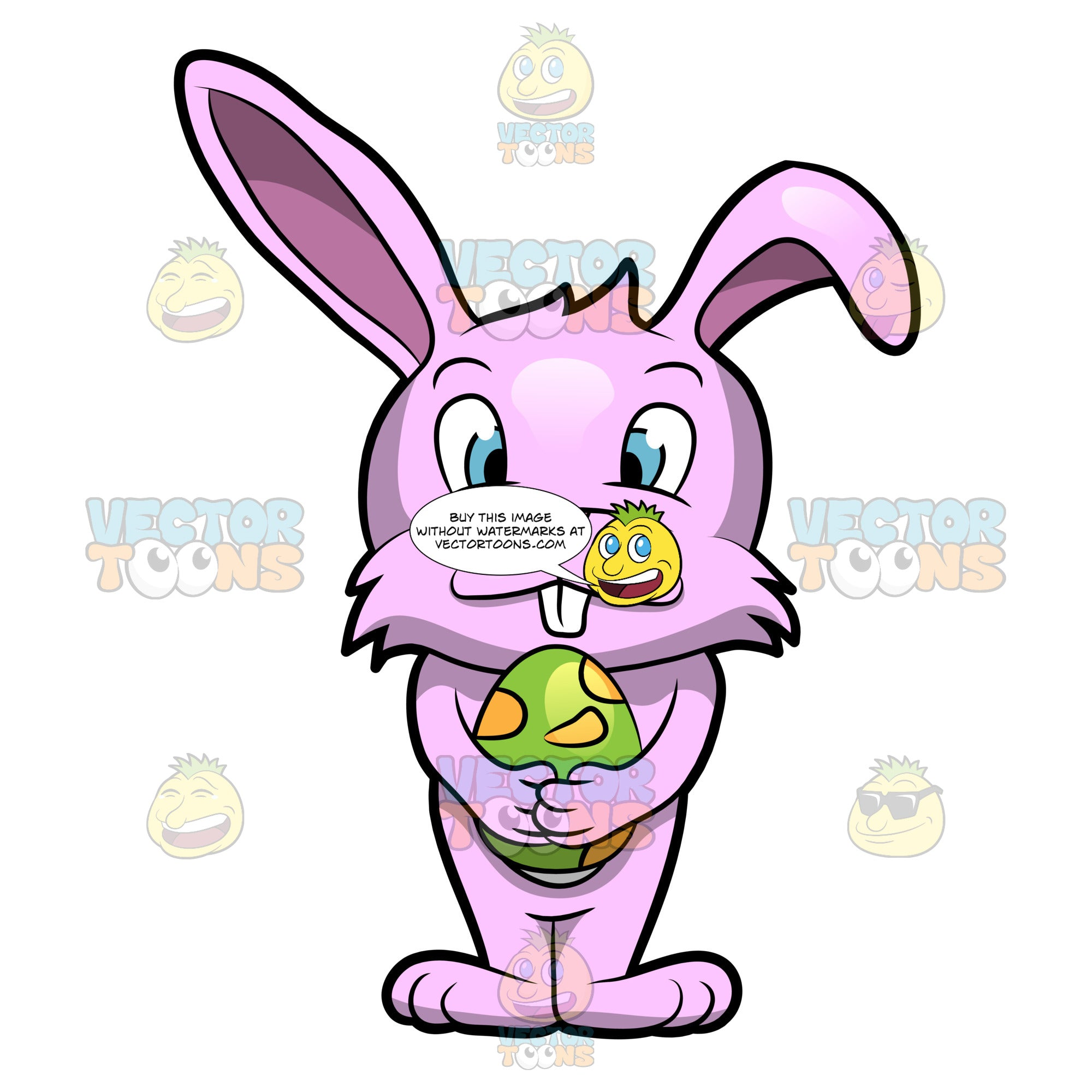 A Cute Bunny Hugging An Easter Egg