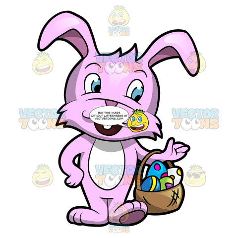 A Cute Easter Bunny Carrying A Basket Of Easter Eggs