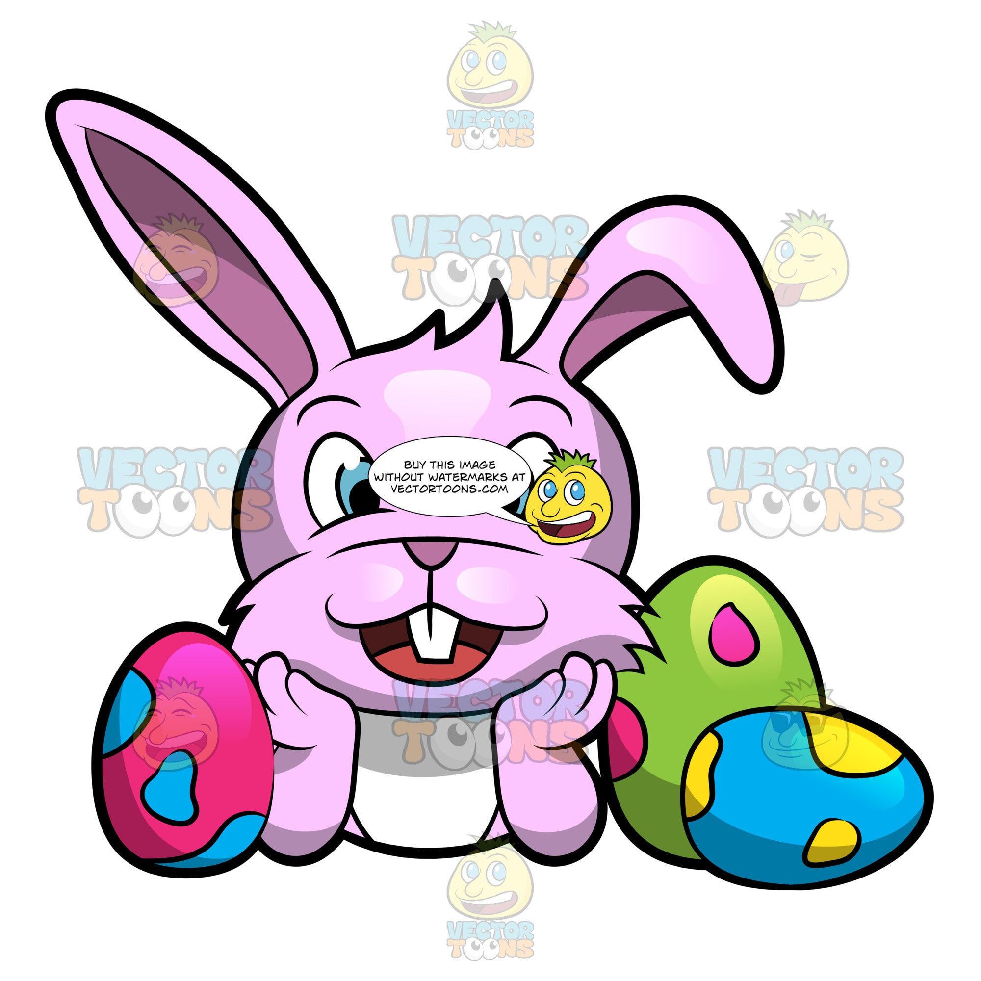 Easter bunny cartoon. A happy cute surrounded