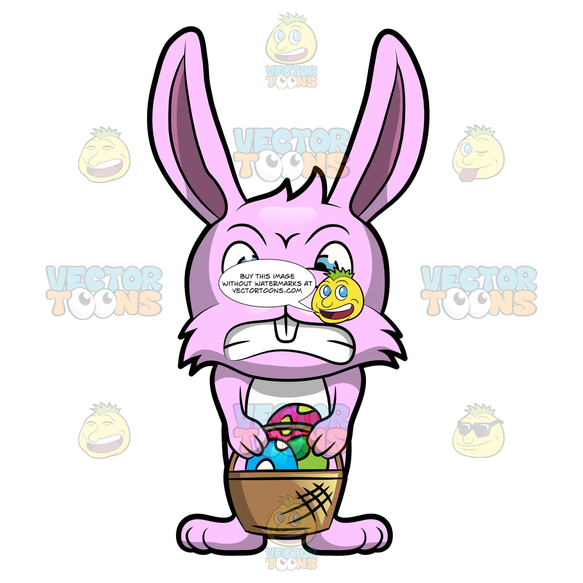 A Maddened Easter Bunny With His Basket Of Easter Eggs