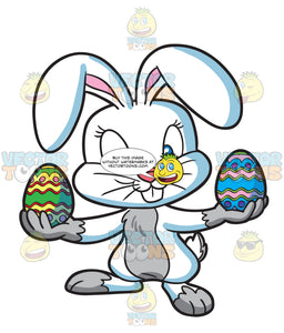 An Easter Bunny Holding Colorful Eggs