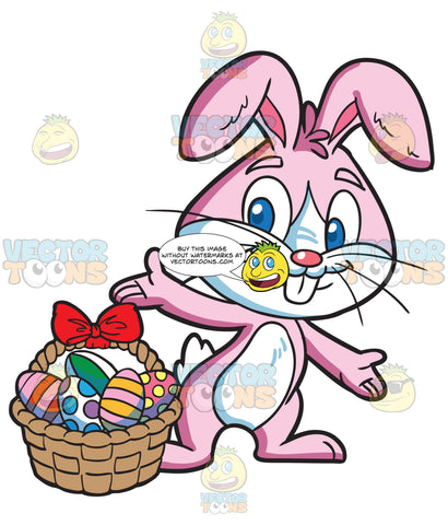 An Easter Bunny Collecting Colorful Eggs