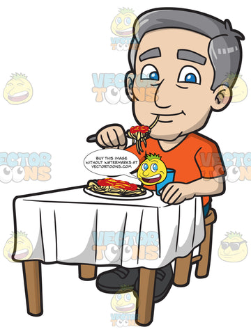 A Mature Man Eating Spaghetti