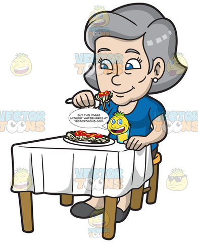 A Mature Woman Eating Spaghetti