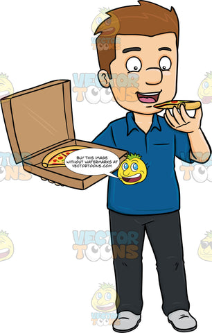 A Man Savoring A Box Of Pizza