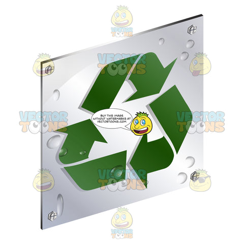 Green Arrow Recycling Symbol Sign On Metal Plate With Screws Titled Updwards And Right
