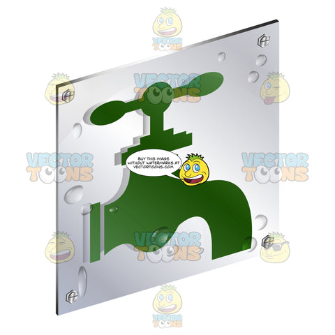 Green Water Spigot Tap Sign On Metal Plate With Screws Titled Updwards And Right