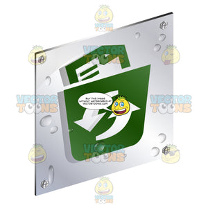 Green Paper Document In Wastebasket With Arrow Recycling Sign On Metal Plate With Screws Titled Updwards And Right