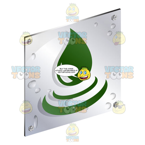 Green Falling Water Droplet Sign On Metal Plate With Screws Titled Updwards And Right
