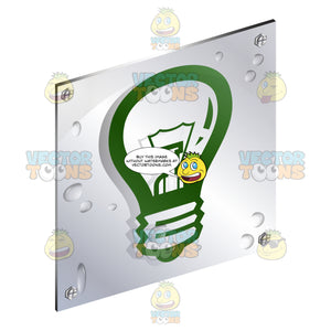 Gree Light Bulb Energy Sign On Metal Plate With Screws Titled Updwards And Right