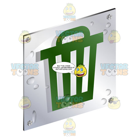 Green Garbage Bin With Lid Sign On Metal Plate With Screws Titled Updwards And Right