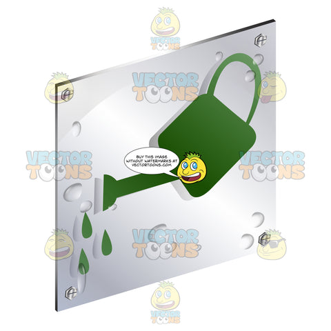Green Watering Can Tilted With Drops Coming Out Sign On Metal Plate With Screws Titled Updwards And Right