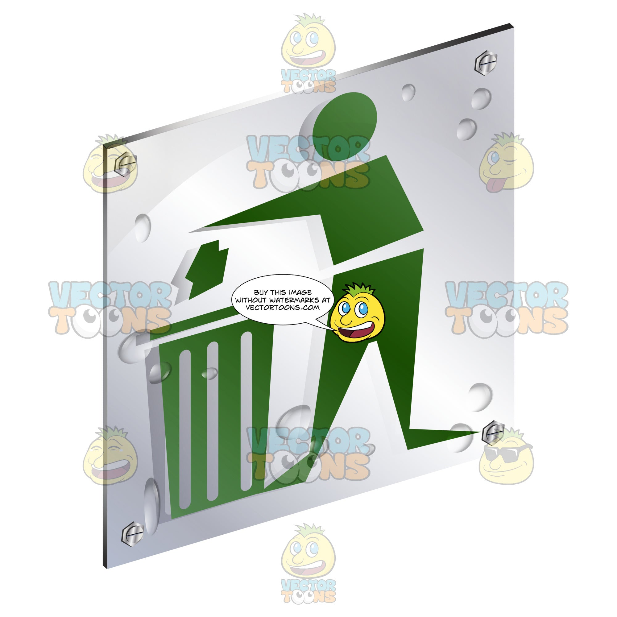 Green Human Figure Throwing Out Trash Sign On Metal Plate With Screws Titled Updwards And Right