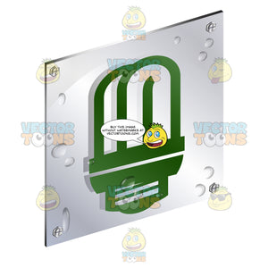 Green Tubular Type Compact Fluorescent Lamp Bulb Sign On Metal Plate With  Screws Titled Updwards And Right