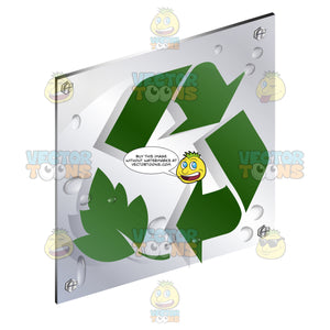 Green Two Recycling Arror With Leaf Sign On Metal Plate With Screws Titled Updwards And Right