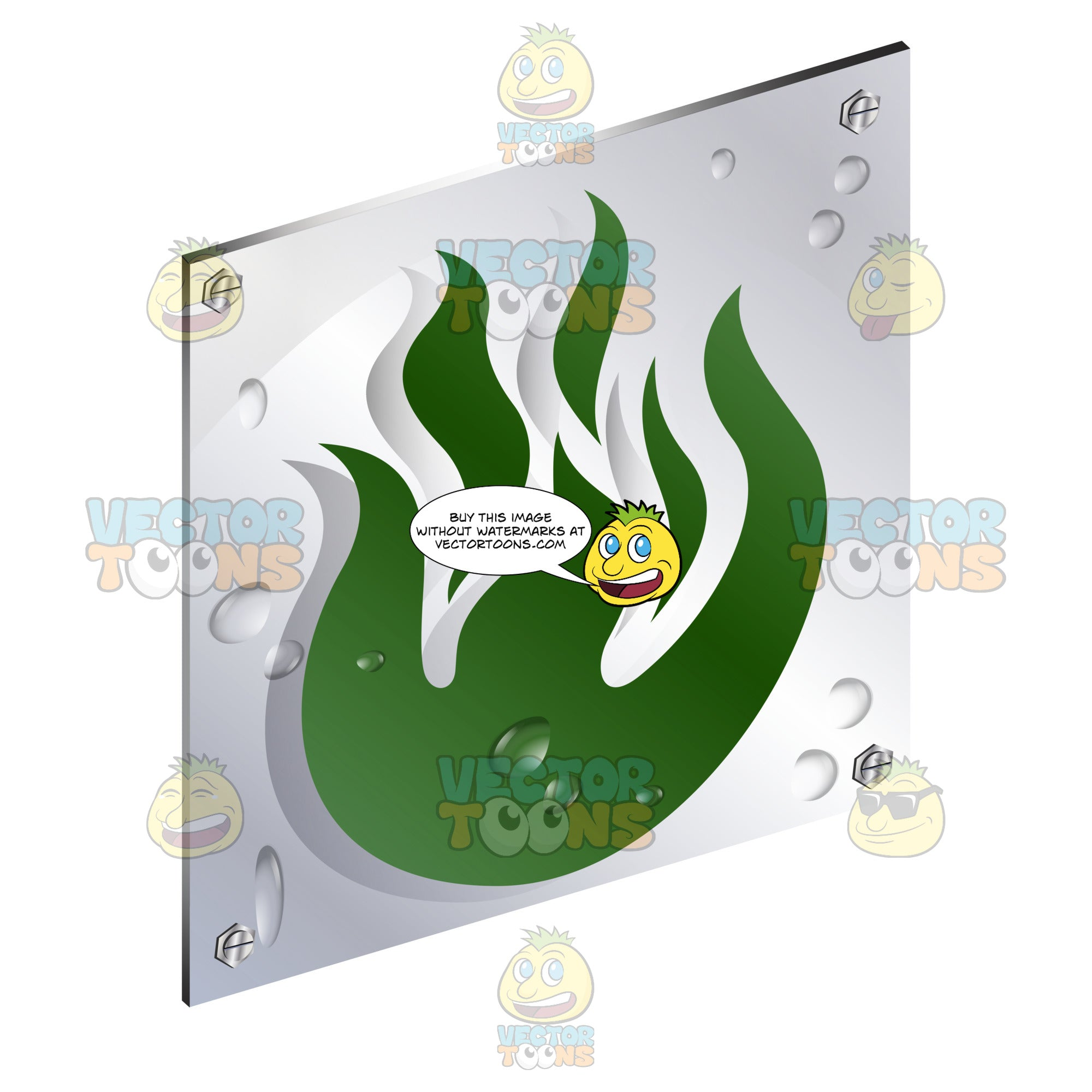 Gree Fire Flames Energy Sign On Metal Plate With Screws Titled Updwards And Right