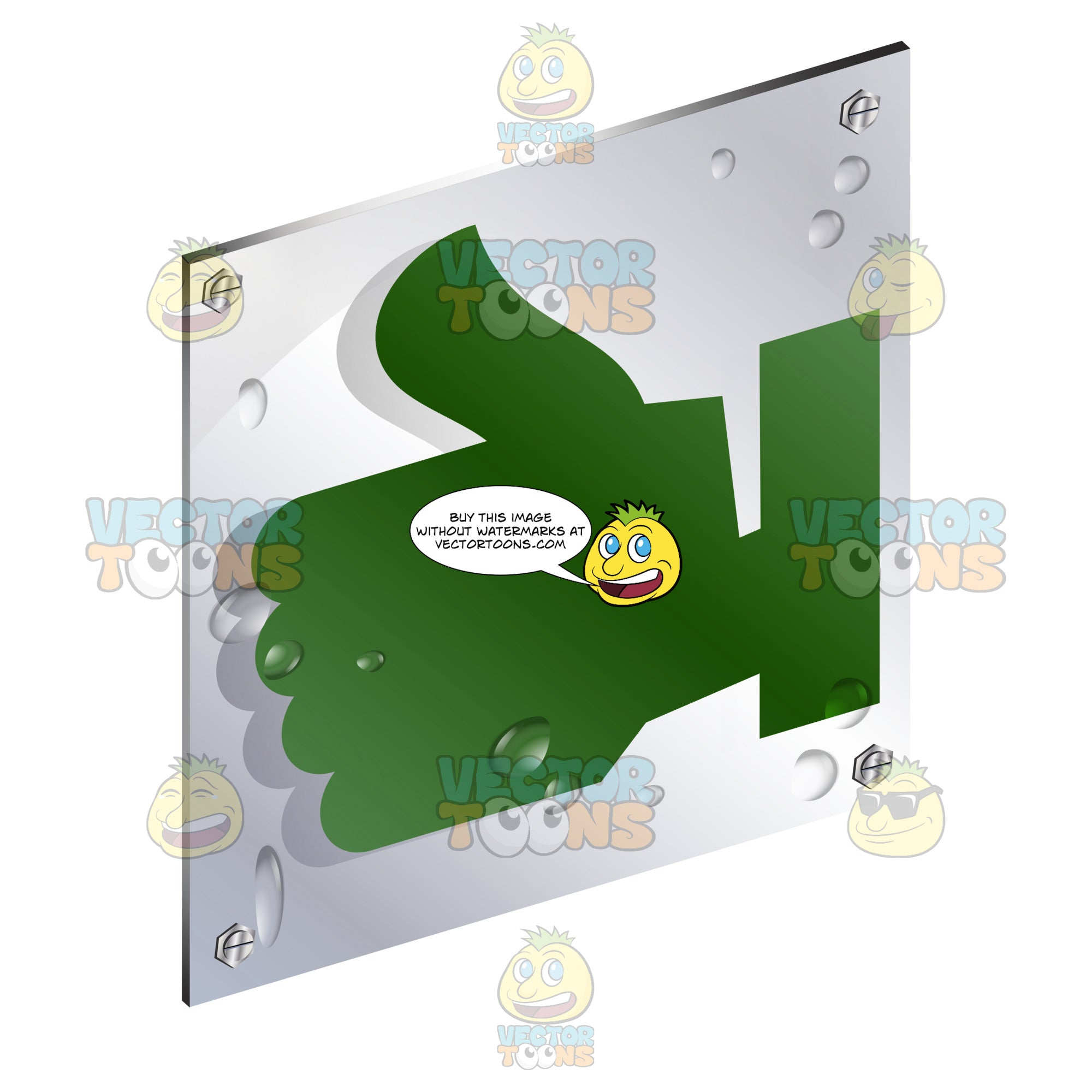 Green Thumbs Up Sign On Metal Plate With Screws Titled Updwards And Right