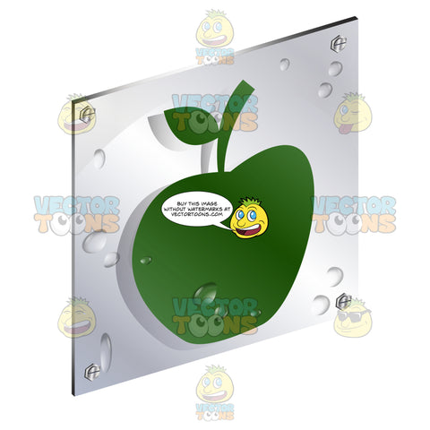 Green Apple With Leaf On Stem Sign On Metal Plate With Screws Titled Updwards And Right