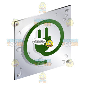 Green Plug In Circle Cord Sign On Metal Plate With Screws Titled Updwards And Right