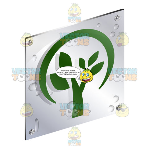Green Circle Tree With Branches And Leaves Sign On Metal Plate With Screws Titled Updwards And Right
