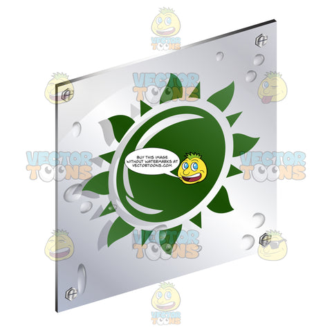 Green Solar Sun With Rays Sign On Metal Plate With Screws Titled Updwards And Right