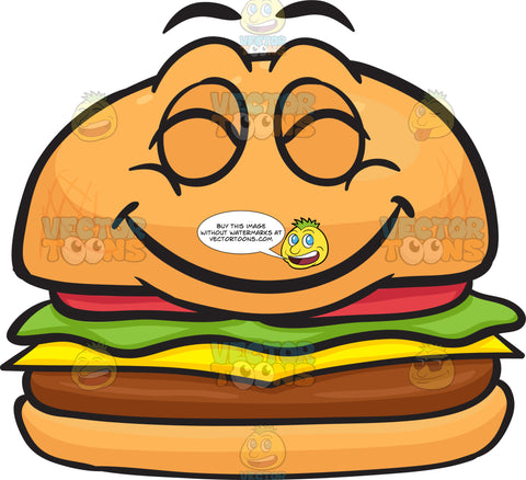 Ecstatic Cheeseburger Grinning In Pleasure