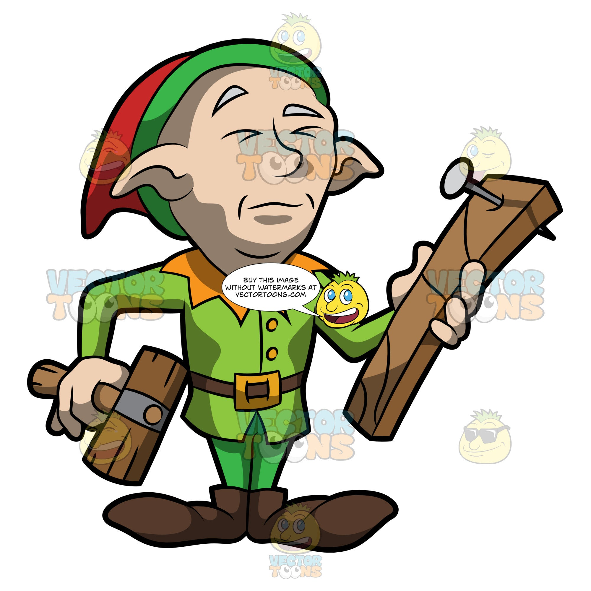 An Elf Trying To Hammer A Nail Into A Wood